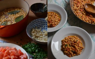 Braised Chickpeas With Tomatoes, Almonds, and Garlic